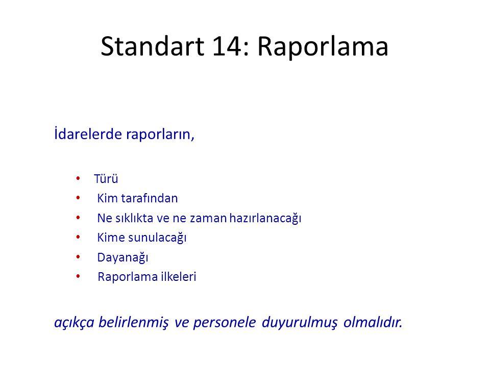 Standart 14: Raporlama İdarelerde raporların, Türü Kim tarafından Ne sıklıkta ve ne zaman hazırlanacağı Kime sunulacağı Dayanağı Raporlama ilkeleri aç
