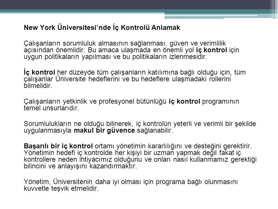 New York Üniversitesi'nde İç Kontrolü Anlamak Çalışanların sorumluluk almasının sağlanması, güven ve verimlilik açısından önemlidir.