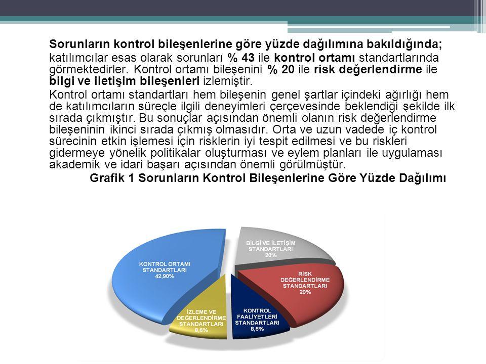 Sorunların kontrol bileşenlerine göre yüzde dağılımına bakıldığında; katılımcılar esas olarak sorunları % 43 ile kontrol ortamı standartlarında görmektedirler.