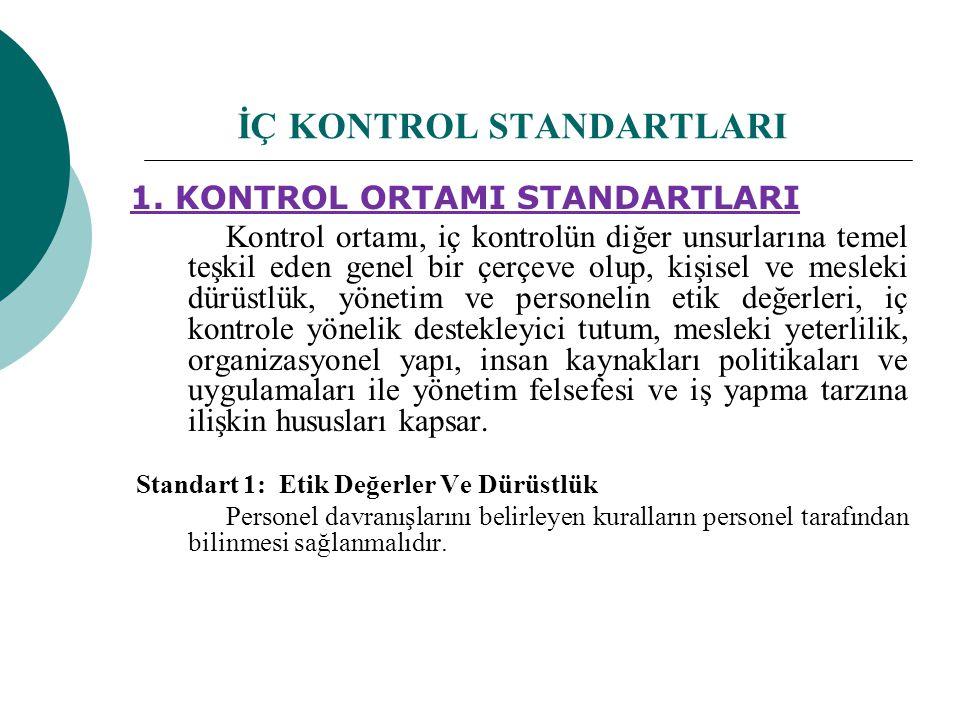 İÇ KONTROL STANDARTLARI 1. KONTROL ORTAMI STANDARTLARI Kontrol ortamı, iç kontrolün diğer unsurlarına temel teşkil eden genel bir çerçeve olup, kişise