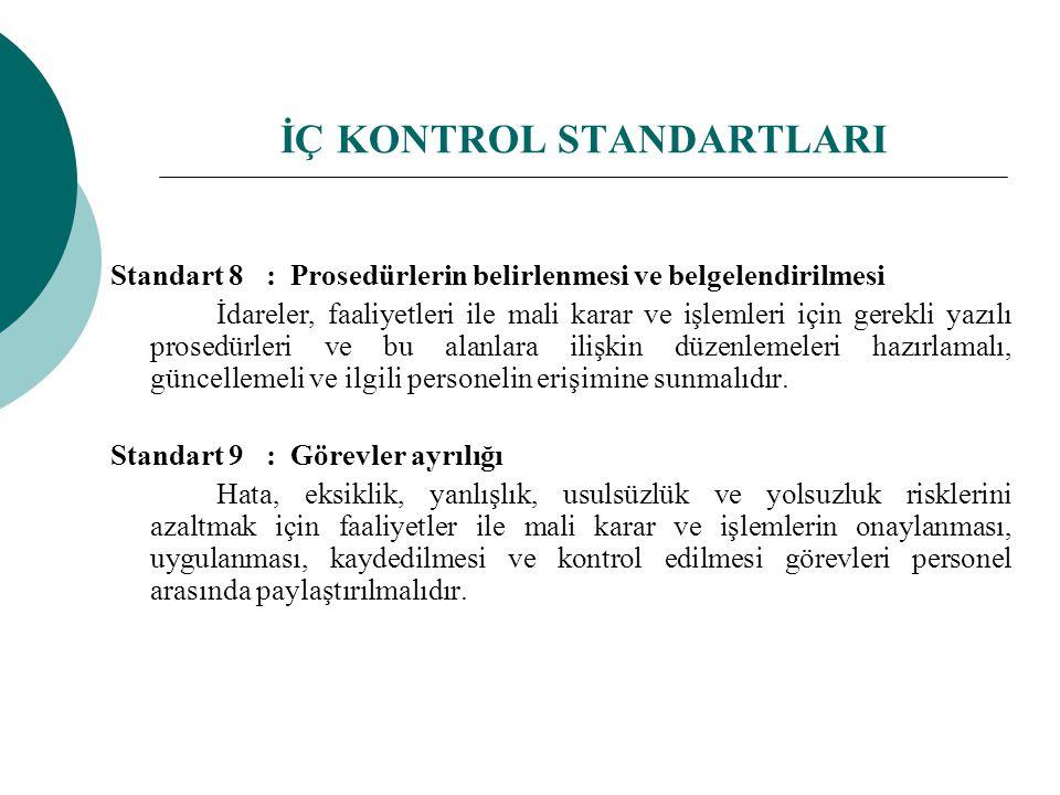 Standart 8 : Prosedürlerin belirlenmesi ve belgelendirilmesi İdareler, faaliyetleri ile mali karar ve işlemleri için gerekli yazılı prosedürleri ve bu