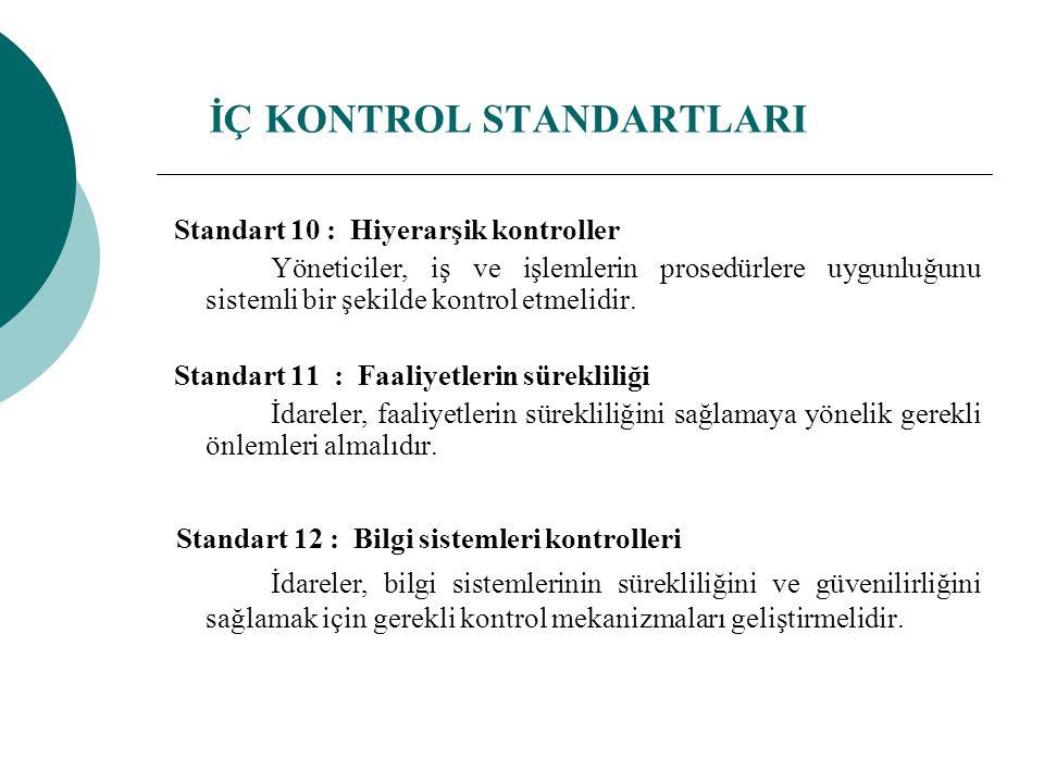 Standart 10 : Hiyerarşik kontroller Yöneticiler, iş ve işlemlerin prosedürlere uygunluğunu sistemli bir şekilde kontrol etmelidir. Standart 11 : Faali
