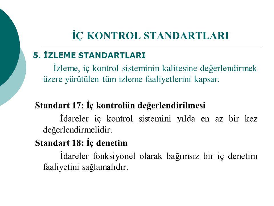 5. İZLEME STANDARTLARI İzleme, iç kontrol sisteminin kalitesine değerlendirmek üzere yürütülen tüm izleme faaliyetlerini kapsar. Standart 17: İç kontr