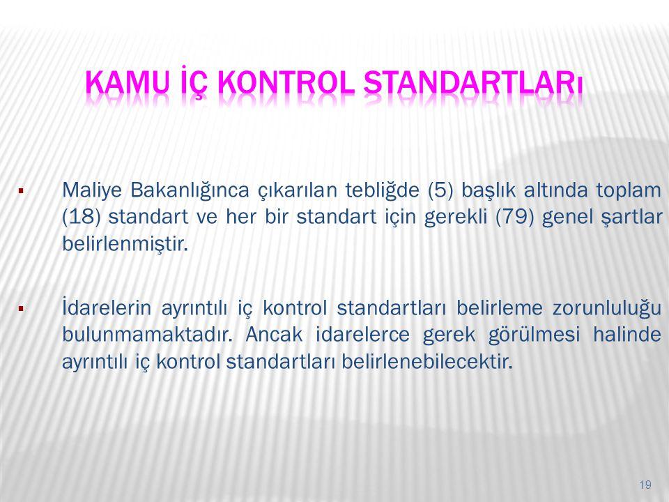 19  Maliye Bakanlığınca çıkarılan tebliğde (5) başlık altında toplam (18) standart ve her bir standart için gerekli (79) genel şartlar belirlenmiştir