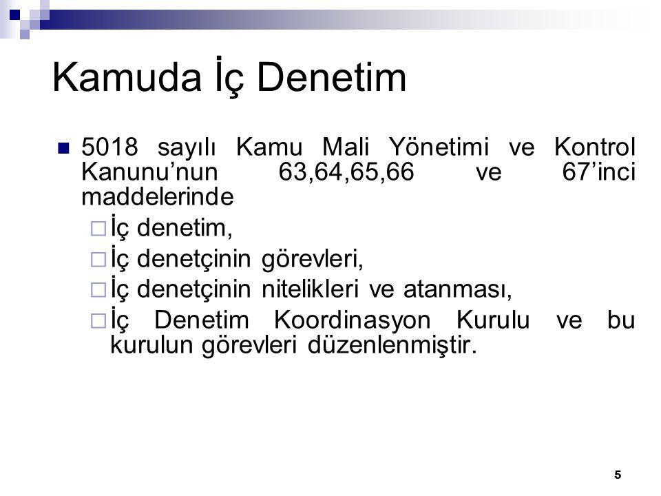 6 5018 Sayılı Kanunda İç Denetim Sistemi İç Denetim Koordinasyon Kurulu kurulmuştur.