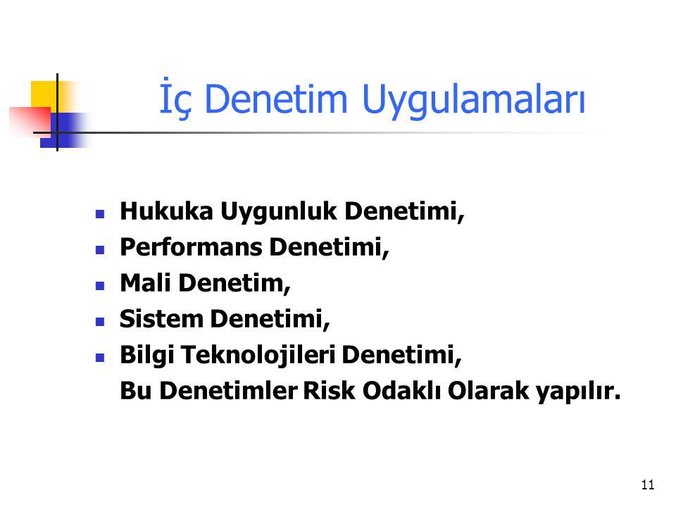 11 İç Denetim Uygulamaları Hukuka Uygunluk Denetimi, Performans Denetimi, Mali Denetim, Sistem Denetimi, Bilgi Teknolojileri Denetimi, Bu Denetimler R