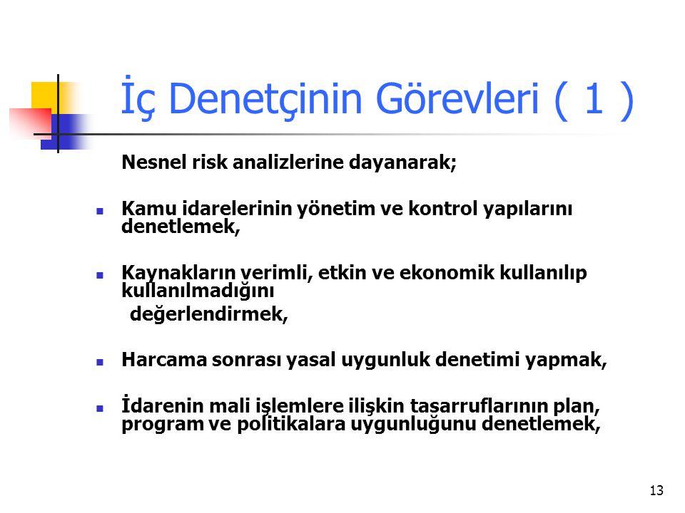 13 İç Denetçinin Görevleri ( 1 ) Nesnel risk analizlerine dayanarak; Kamu idarelerinin yönetim ve kontrol yapılarını denetlemek, Kaynakların verimli,