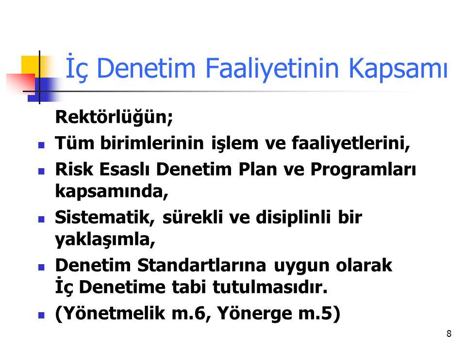 8 İç Denetim Faaliyetinin Kapsamı Rektörlüğün; Tüm birimlerinin işlem ve faaliyetlerini, Risk Esaslı Denetim Plan ve Programları kapsamında, Sistemati