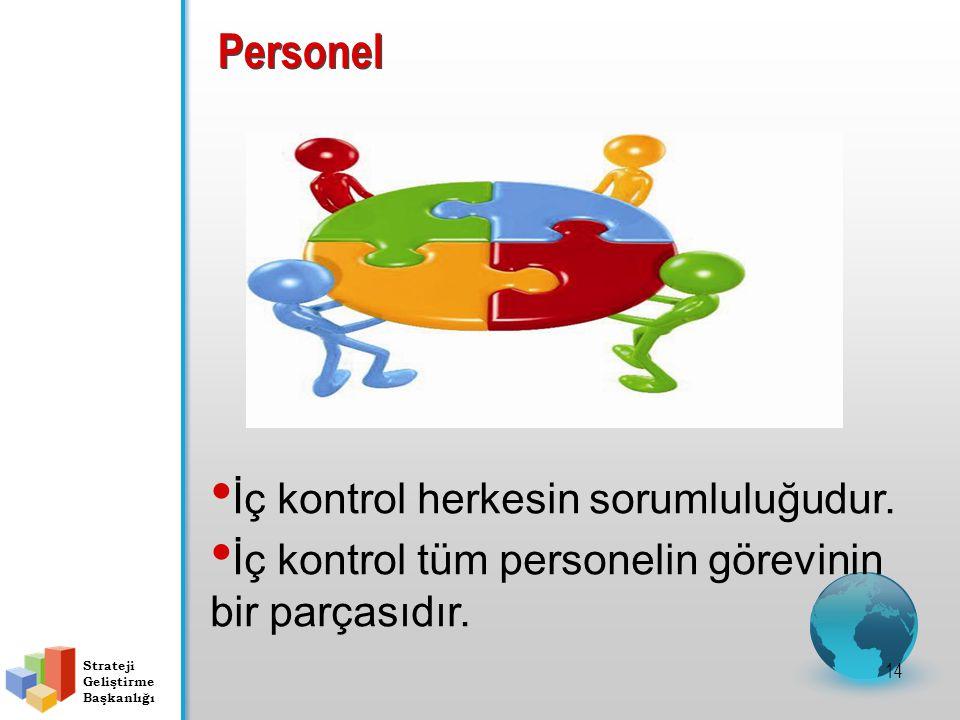 Personel 14 İç kontrol herkesin sorumluluğudur. İç kontrol tüm personelin görevinin bir parçasıdır.