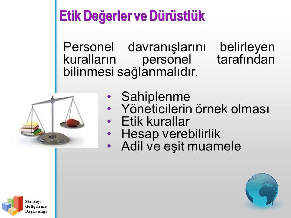 Etik Değerler ve Dürüstlük 21 Personel davranışlarını belirleyen kuralların personel tarafından bilinmesi sağlanmalıdır.