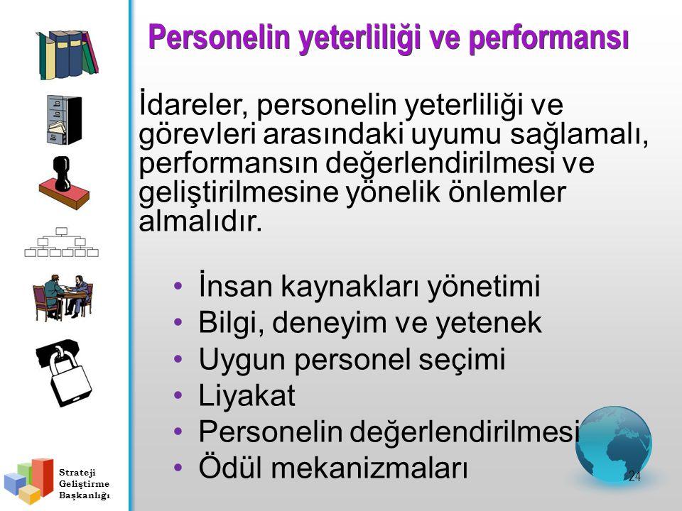 Personelin yeterliliği ve performansı 24 İdareler, personelin yeterliliği ve görevleri arasındaki uyumu sağlamalı, performansın değerlendirilmesi ve geliştirilmesine yönelik önlemler almalıdır.