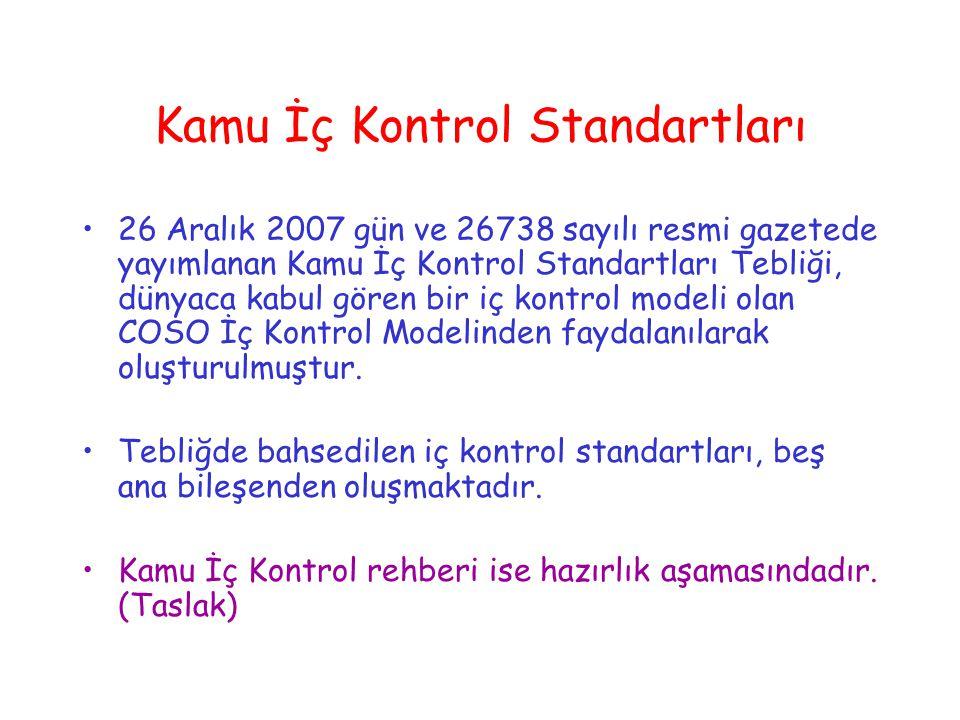Kamu İç Kontrol Standartları 26 Aralık 2007 gün ve 26738 sayılı resmi gazetede yayımlanan Kamu İç Kontrol Standartları Tebliği, dünyaca kabul gören bir iç kontrol modeli olan COSO İç Kontrol Modelinden faydalanılarak oluşturulmuştur.