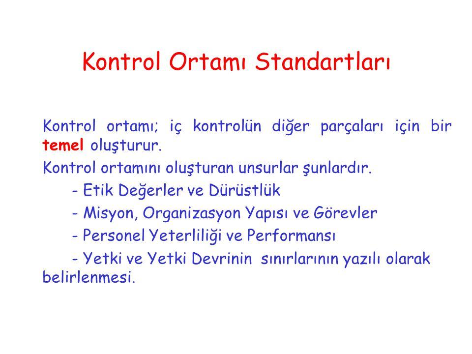 Kontrol Ortamı Standartları Kontrol ortamı; iç kontrolün diğer parçaları için bir temel oluşturur. Kontrol ortamını oluşturan unsurlar şunlardır. - Et