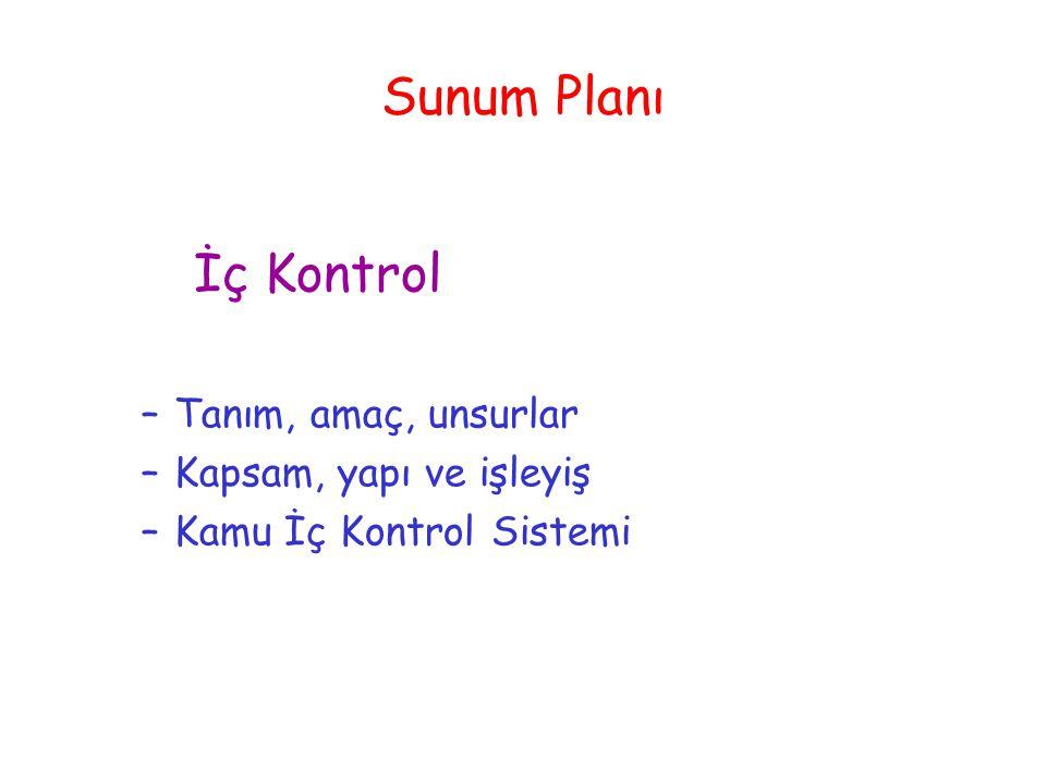 Sunum Planı İç Kontrol –Tanım, amaç, unsurlar –Kapsam, yapı ve işleyiş –Kamu İç Kontrol Sistemi
