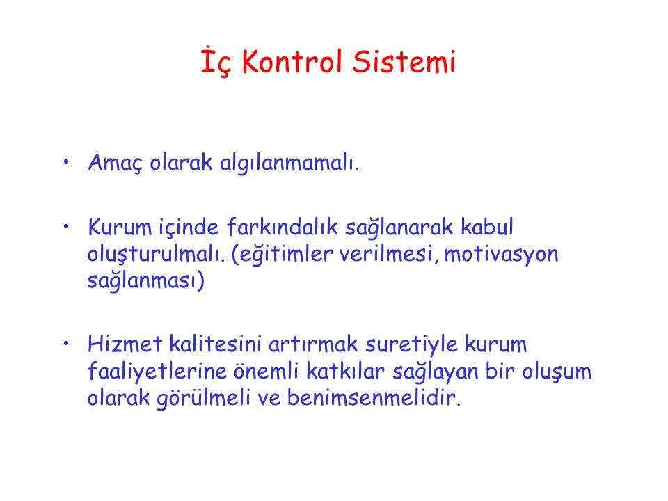 İç Kontrol Sistemi Amaç olarak algılanmamalı.