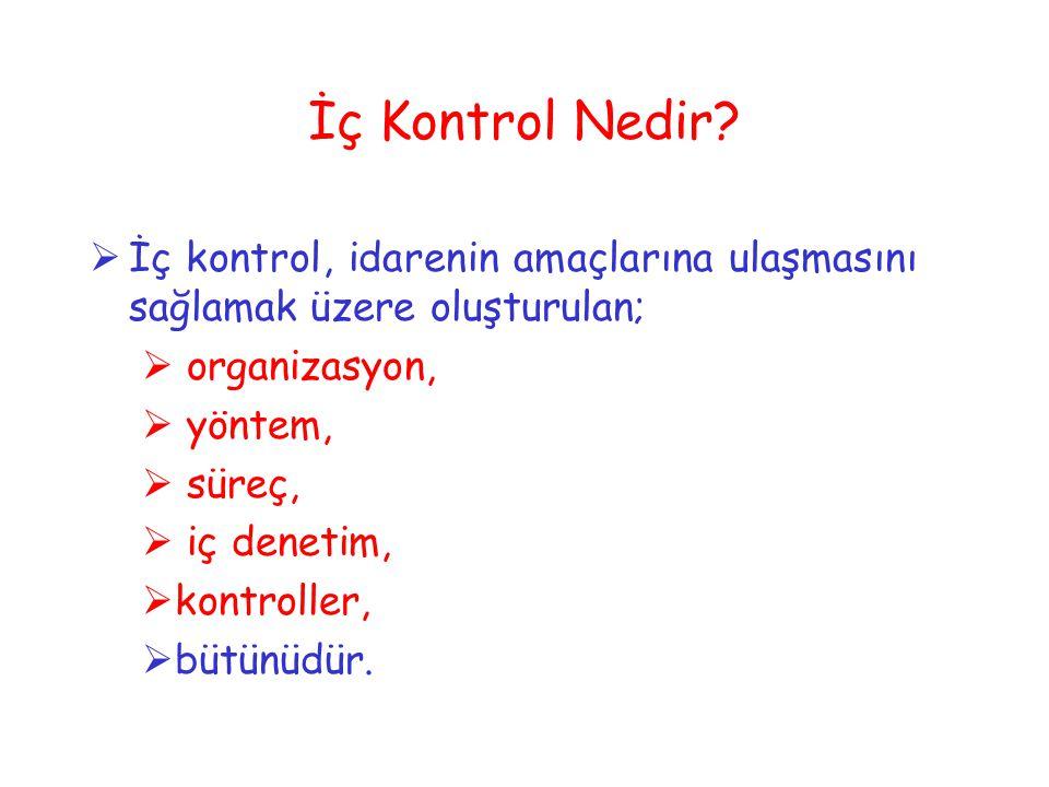 İç Kontrol Nedir?  İç kontrol, idarenin amaçlarına ulaşmasını sağlamak üzere oluşturulan;  organizasyon,  yöntem,  süreç,  iç denetim,  kontroll