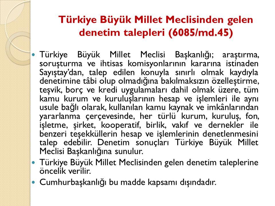 (6085/md.45) Türkiye Büyük Millet Meclisinden gelen denetim talepleri (6085/md.45) Türkiye Büyük Millet Meclisi Başkanlı ğ ı; araştırma, soruşturma ve