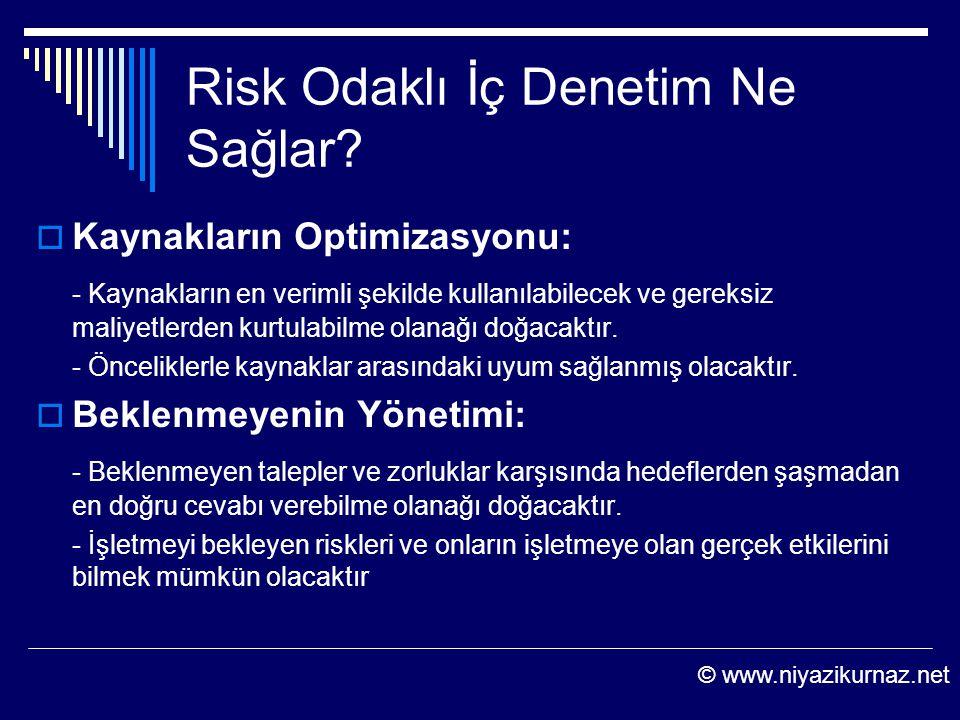 Risk Odaklı İç Denetim Ne Sağlar?  Kaynakların Optimizasyonu: - Kaynakların en verimli şekilde kullanılabilecek ve gereksiz maliyetlerden kurtulabilm