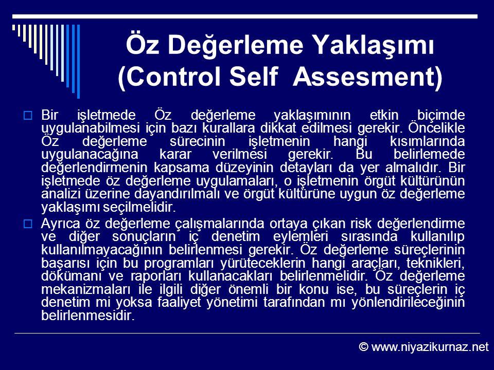 Öz Değerleme Yaklaşımı (Control Self Assesment)  Bir işletmede Öz değerleme yaklaşımının etkin biçimde uygulanabilmesi için bazı kurallara dikkat edi