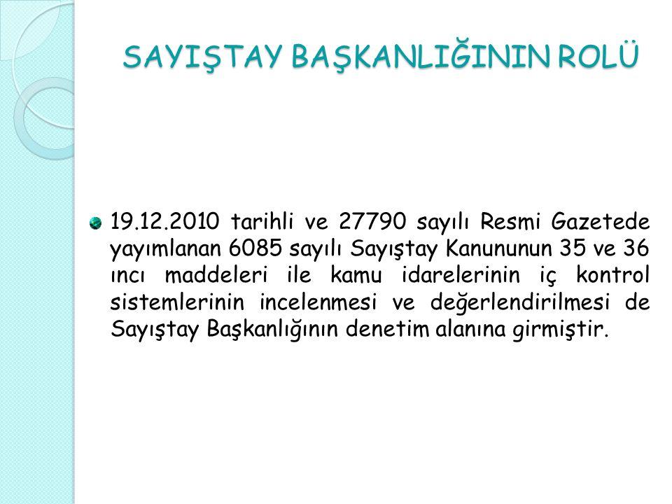 SAYIŞTAY BAŞKANLIĞININ ROLÜ 19.12.2010 tarihli ve 27790 sayılı Resmi Gazetede yayımlanan 6085 sayılı Sayıştay Kanununun 35 ve 36 ıncı maddeleri ile ka