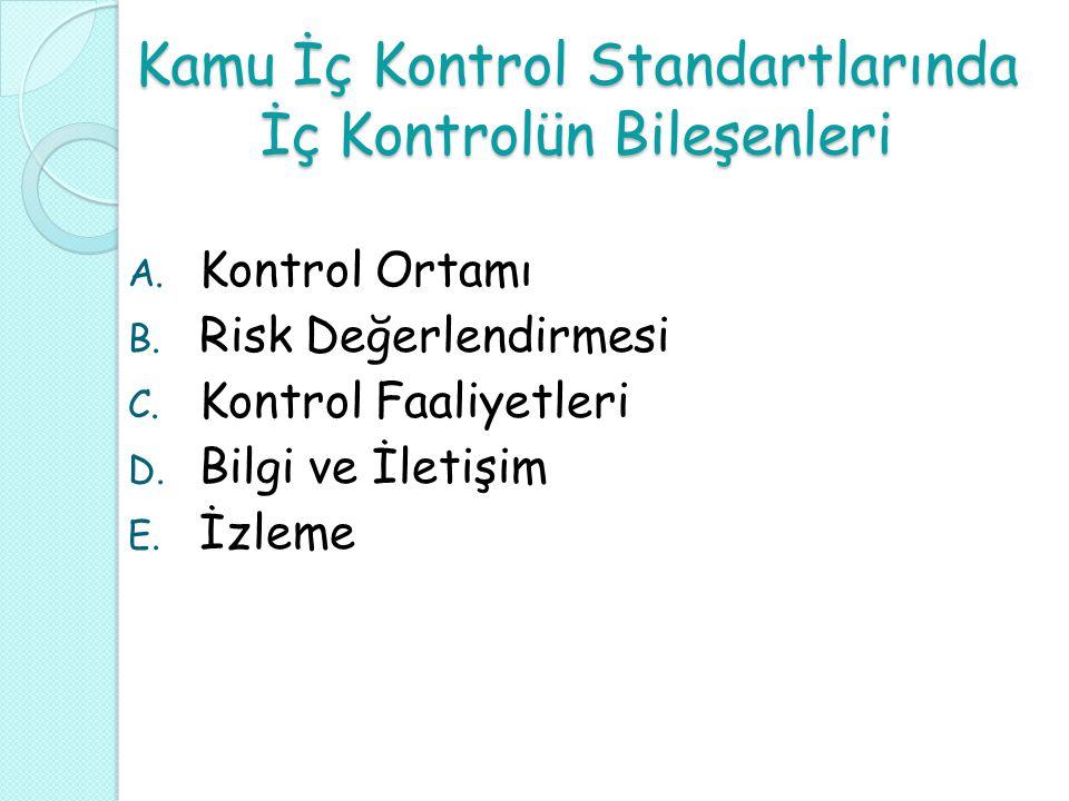 Kamu İç Kontrol Standartlarında İç Kontrolün Bileşenleri A. Kontrol Ortamı B. Risk Değerlendirmesi C. Kontrol Faaliyetleri D. Bilgi ve İletişim E. İzl