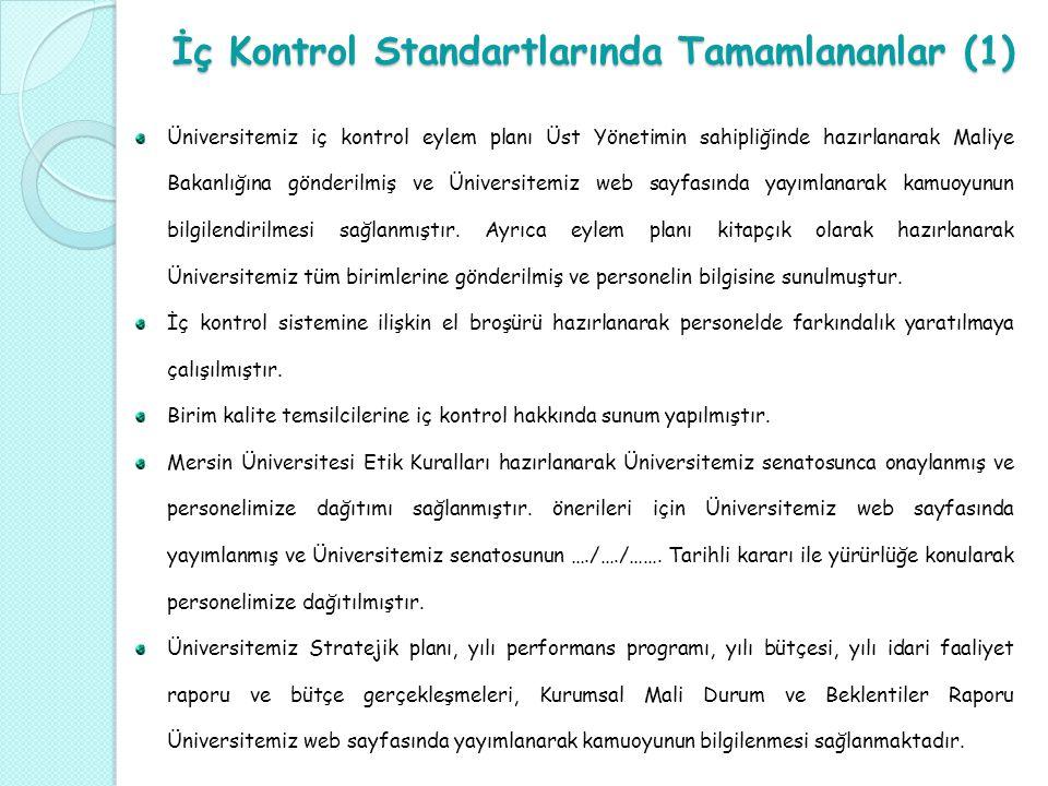 İç Kontrol Standartlarında Tamamlananlar (1) Üniversitemiz iç kontrol eylem planı Üst Yönetimin sahipliğinde hazırlanarak Maliye Bakanlığına gönderilm