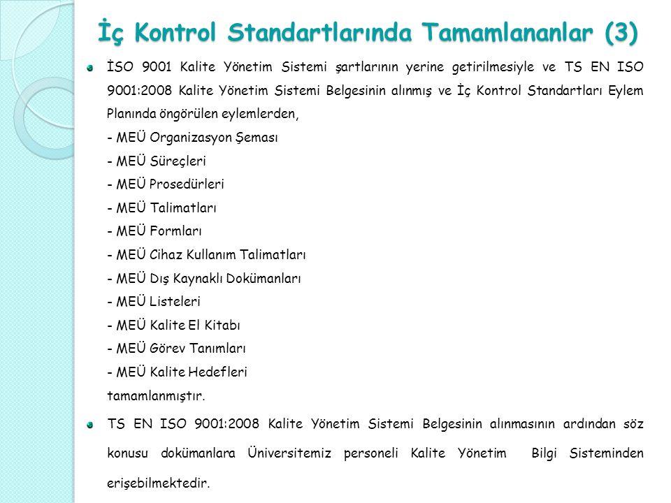 İç Kontrol Standartlarında Tamamlananlar (3) İSO 9001 Kalite Yönetim Sistemi şartlarının yerine getirilmesiyle ve TS EN ISO 9001:2008 Kalite Yönetim S