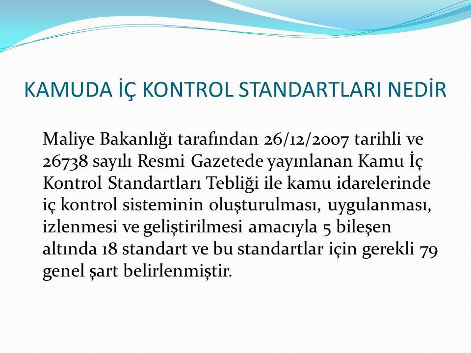 KAMUDA İÇ KONTROL STANDARTLARI NEDİR Maliye Bakanlığı tarafından 26/12/2007 tarihli ve 26738 sayılı Resmi Gazetede yayınlanan Kamu İç Kontrol Standartları Tebliği ile kamu idarelerinde iç kontrol sisteminin oluşturulması, uygulanması, izlenmesi ve geliştirilmesi amacıyla 5 bileşen altında 18 standart ve bu standartlar için gerekli 79 genel şart belirlenmiştir.