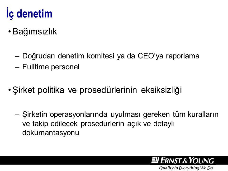 İç denetim Bağımsızlık –Doğrudan denetim komitesi ya da CEO'ya raporlama –Fulltime personel Şirket politika ve prosedürlerinin eksiksizliği –Şirketin