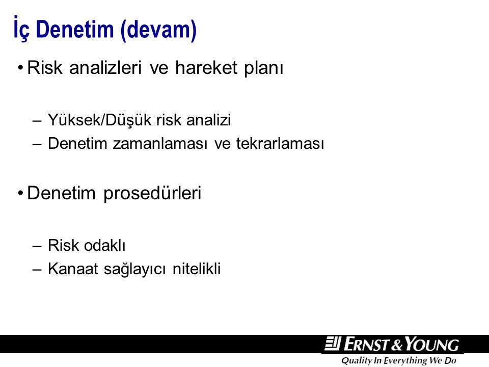 İç Denetim (devam) Risk analizleri ve hareket planı –Yüksek/Düşük risk analizi –Denetim zamanlaması ve tekrarlaması Denetim prosedürleri –Risk odaklı