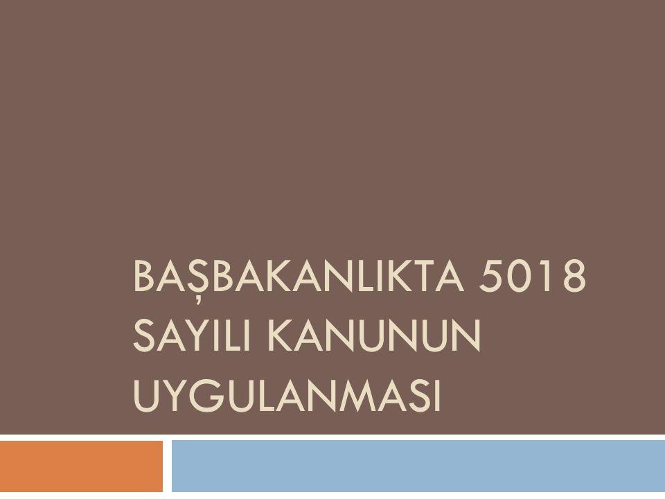 BAŞBAKANLIKTA 5018 SAYILI KANUNUN UYGULANMASI