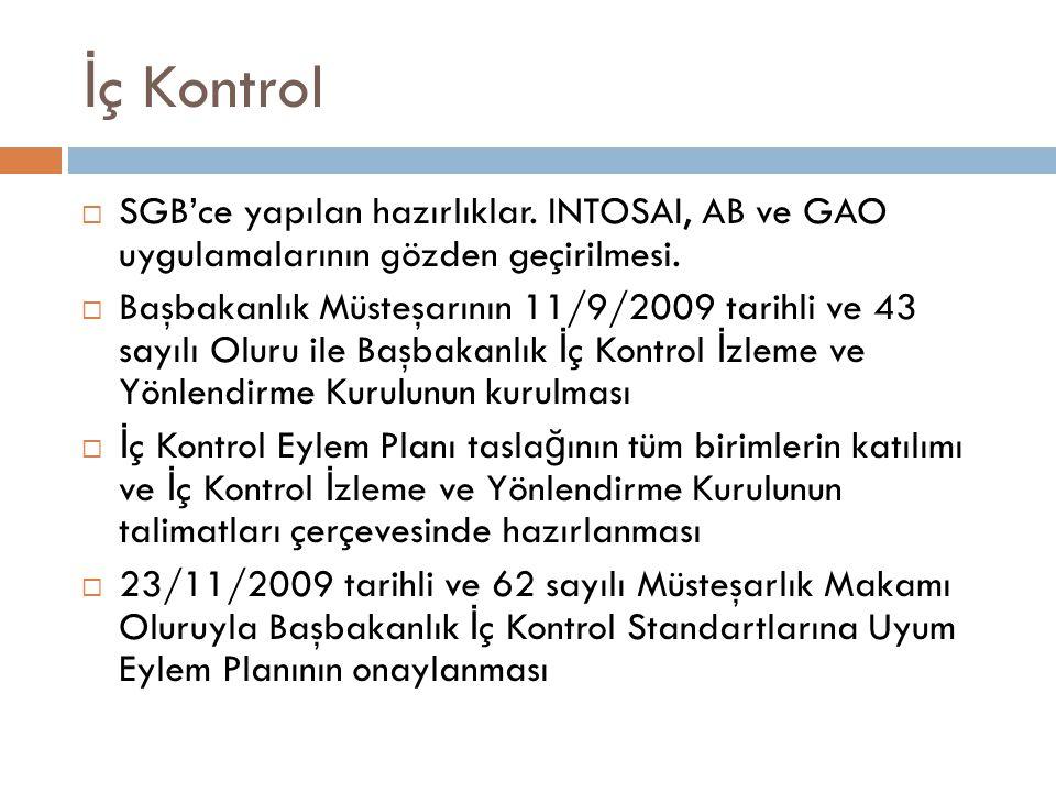 İ ç Kontrol  SGB'ce yapılan hazırlıklar. INTOSAI, AB ve GAO uygulamalarının gözden geçirilmesi.  Başbakanlık Müsteşarının 11/9/2009 tarihli ve 43 sa