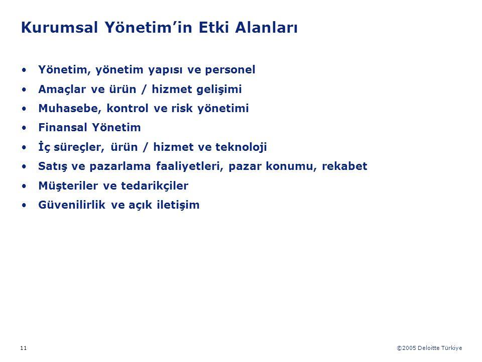©2005 Deloitte Türkiye 11 Yönetim, yönetim yapısı ve personel Amaçlar ve ürün / hizmet gelişimi Muhasebe, kontrol ve risk yönetimi Finansal Yönetim İç