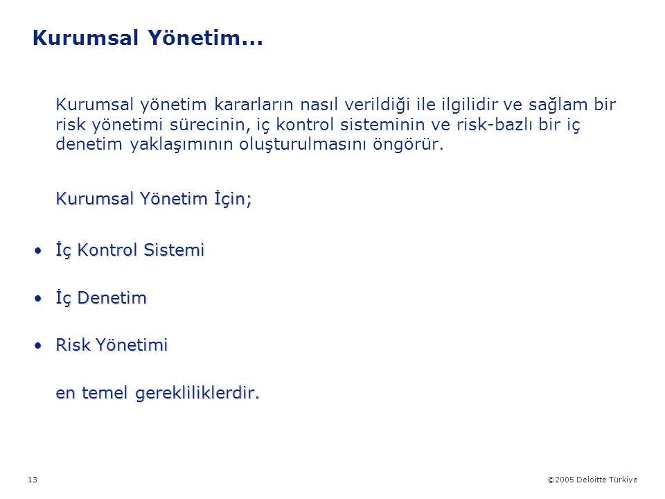 ©2005 Deloitte Türkiye 13 Kurumsal Yönetim... Kurumsal yönetim kararların nasıl verildiği ile ilgilidir ve sağlam bir risk yönetimi sürecinin, iç kont