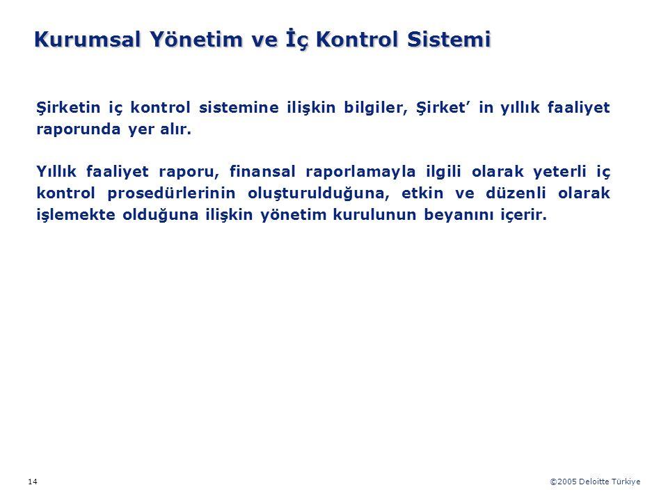 ©2005 Deloitte Türkiye 14 Şirketin iç kontrol sistemine ilişkin bilgiler, Şirket' in yıllık faaliyet raporunda yer alır. Yıllık faaliyet raporu, finan