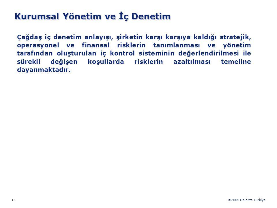 ©2005 Deloitte Türkiye 15 Çağdaş iç denetim anlayışı, şirketin karşı karşıya kaldığı stratejik, operasyonel ve finansal risklerin tanımlanması ve yöne