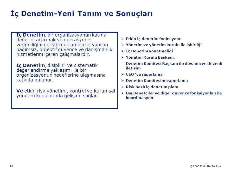 ©2005 Deloitte Türkiye 16 İç Denetim, bir organizasyonun katma değerini artırmak ve operasyonel verimliliğini geliştirmek amacı ile yapılan bağımsız,