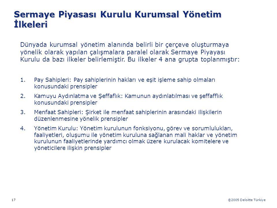 ©2005 Deloitte Türkiye 17 Dünyada kurumsal yönetim alanında belirli bir çerçeve oluşturmaya yönelik olarak yapılan çalışmalara paralel olarak Sermaye