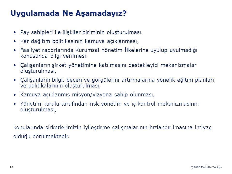 ©2005 Deloitte Türkiye 18 Pay sahipleri ile ilişkiler biriminin oluşturulması. Kar dağıtım politikasının kamuya açıklanması, Faaliyet raporlarında Kur