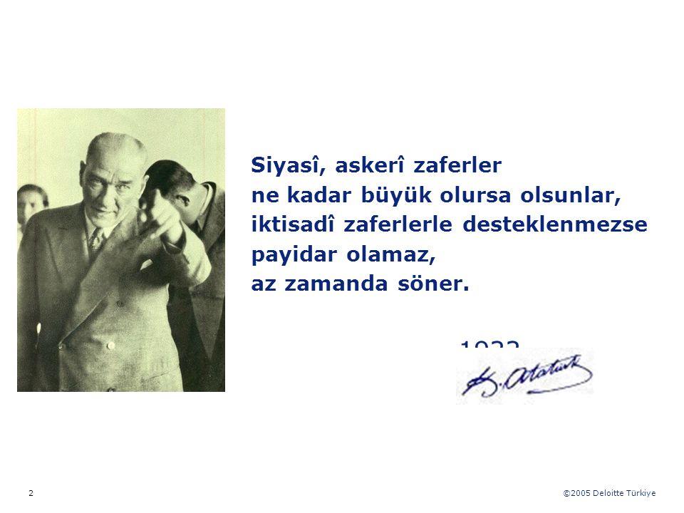 ©2005 Deloitte Türkiye 2 Siyasî, askerî zaferler ne kadar büyük olursa olsunlar, iktisadî zaferlerle desteklenmezse payidar olamaz, az zamanda söner.