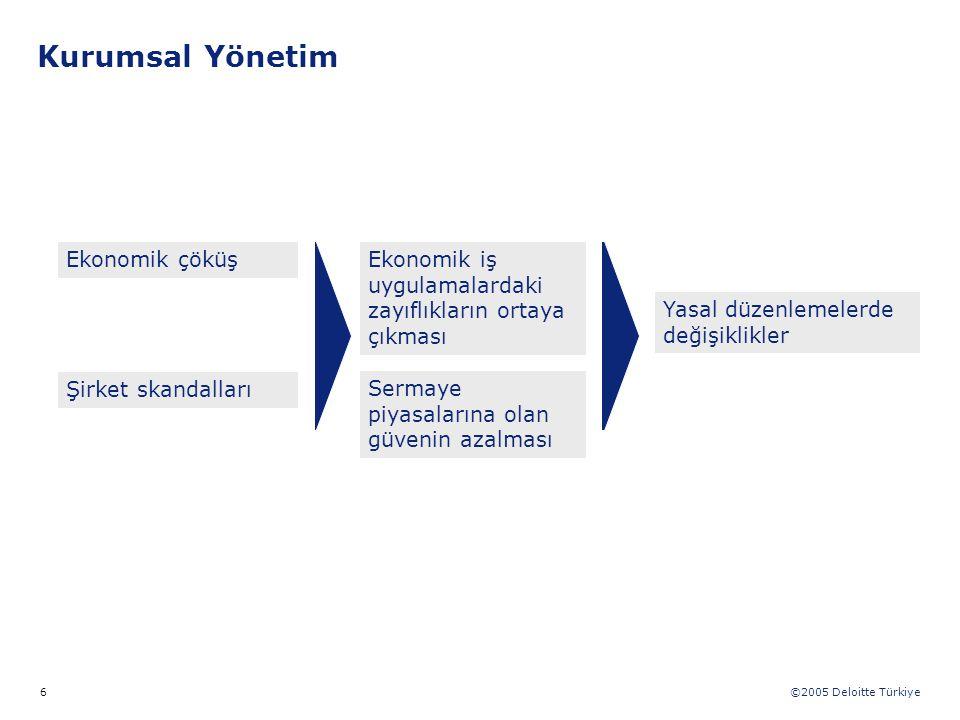 ©2005 Deloitte Türkiye 6 Şirket skandalları Ekonomik çöküş Sermaye piyasalarına olan güvenin azalması Yasal düzenlemelerde değişiklikler Ekonomik iş u