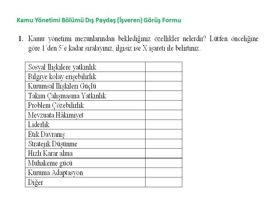 Kamu Yönetimi Bölümü Dış Paydaş (İşveren) Görüş Formu