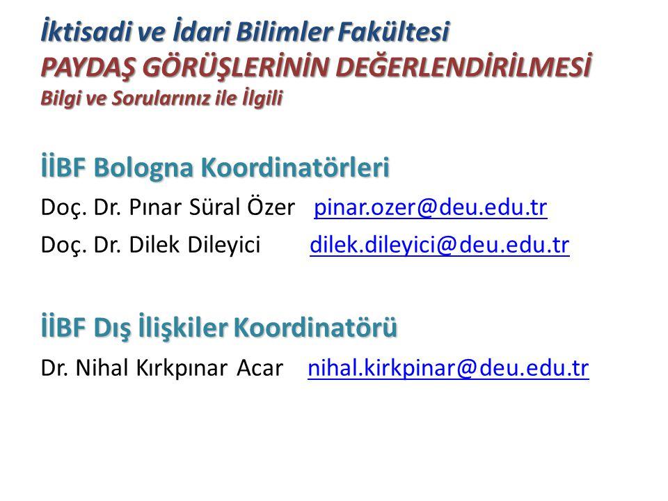 İktisadi ve İdari Bilimler Fakültesi PAYDAŞ GÖRÜŞLERİNİN DEĞERLENDİRİLMESİ Bilgi ve Sorularınız ile İlgili İİBF Bologna Koordinatörleri Doç. Dr. Pınar