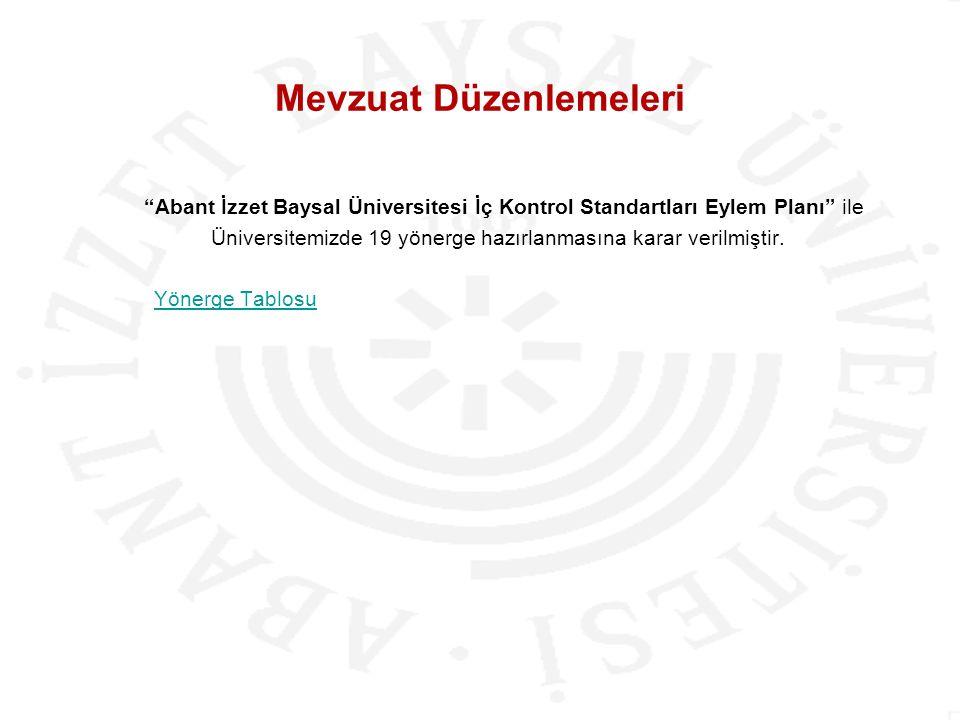"""Mevzuat Düzenlemeleri """"Abant İzzet Baysal Üniversitesi İç Kontrol Standartları Eylem Planı"""" ile Üniversitemizde 19 yönerge hazırlanmasına karar verilm"""