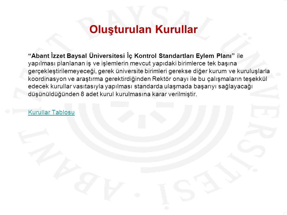 """Oluşturulan Kurullar """"Abant İzzet Baysal Üniversitesi İç Kontrol Standartları Eylem Planı"""" ile yapılması planlanan iş ve işlemlerin mevcut yapıdaki bi"""