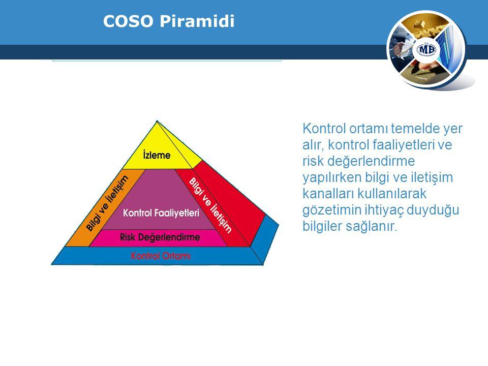COSO Piramidi Kontrol ortamı temelde yer alır, kontrol faaliyetleri ve risk değerlendirme yapılırken bilgi ve iletişim kanalları kullanılarak gözetimi