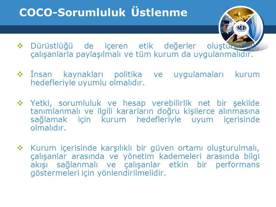 COCO-Sorumluluk Üstlenme  Dürüstlüğü de içeren etik değerler oluşturulmalı, çalışanlarla paylaşılmalı ve tüm kurum da uygulanmalıdır.