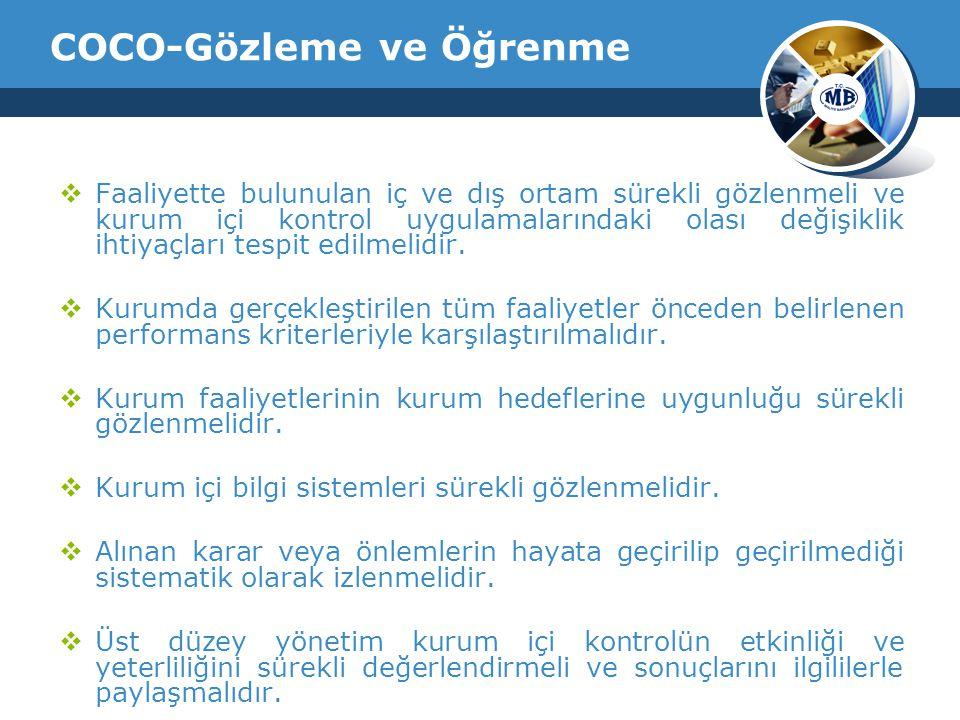 COCO-Gözleme ve Öğrenme  Faaliyette bulunulan iç ve dış ortam sürekli gözlenmeli ve kurum içi kontrol uygulamalarındaki olası değişiklik ihtiyaçları tespit edilmelidir.