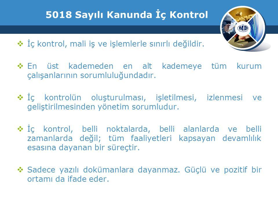 5018 Sayılı Kanunda İç Kontrol  İç kontrol, mali iş ve işlemlerle sınırlı değildir.
