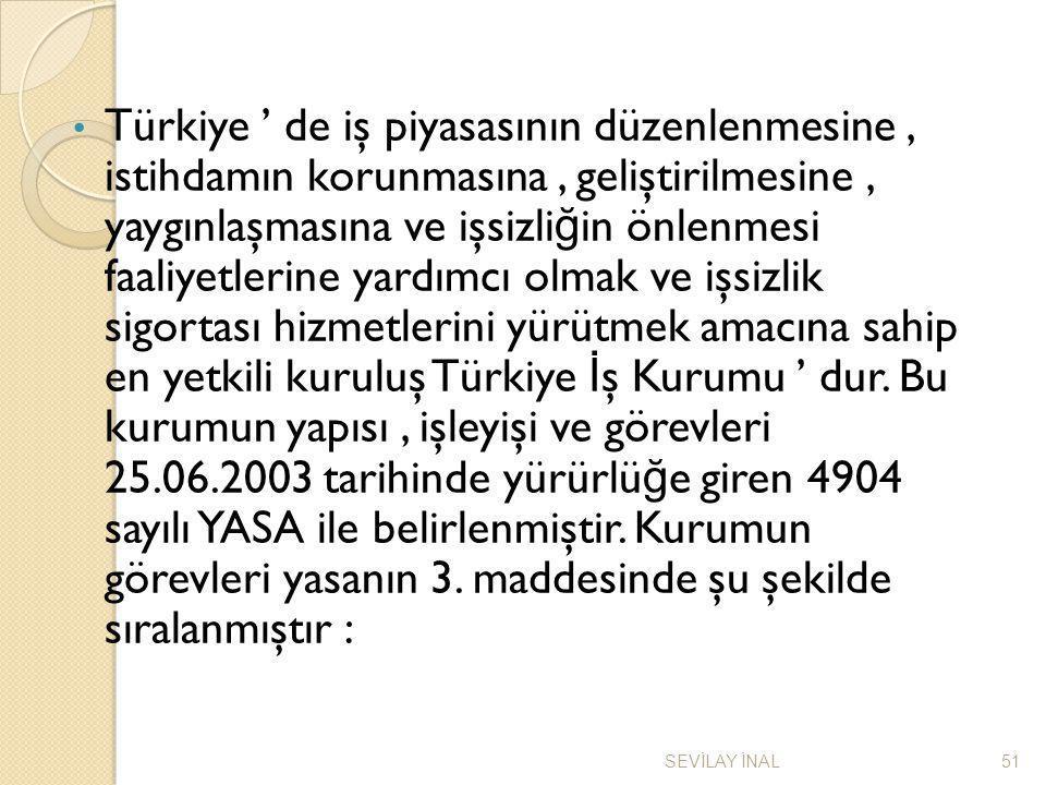 Türkiye ' de iş piyasasının düzenlenmesine, istihdamın korunmasına, geliştirilmesine, yaygınlaşmasına ve işsizli ğ in önlenmesi faaliyetlerine yardımc